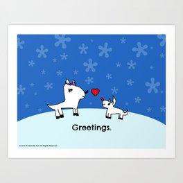 Sweet Deer Holiday Greetings Art Print