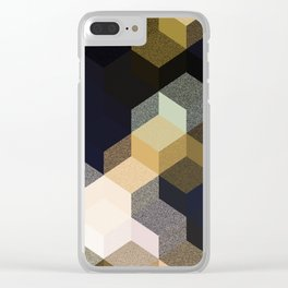 CUBE 1 GOLD & BLACK Clear iPhone Case
