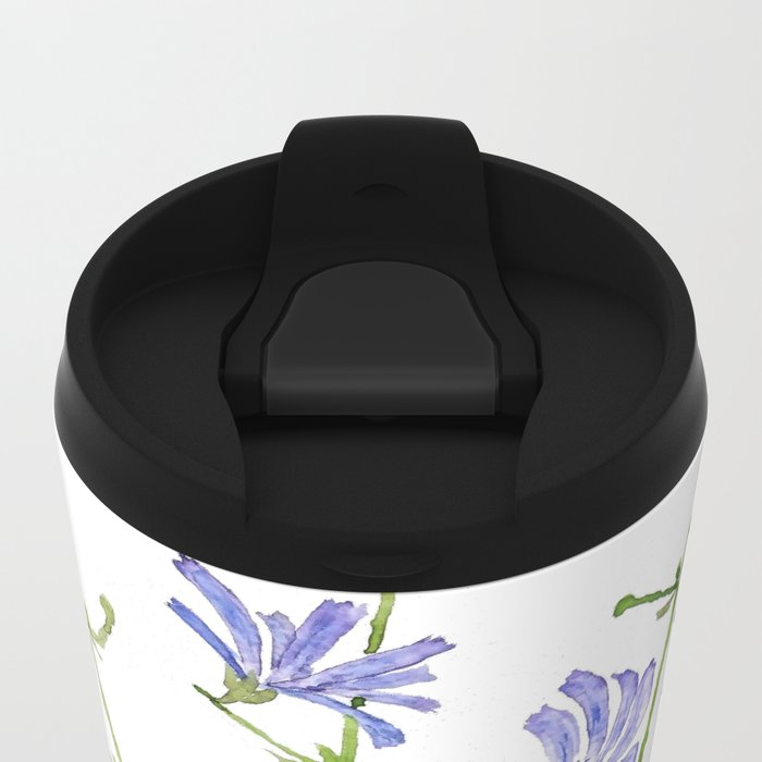blue chicory watercolor Metal Travel Mug