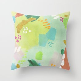 Bright Paints + Gold Throw Pillow