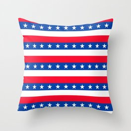 Red White Blue Stars Stripes Patriotic Throw Pillow