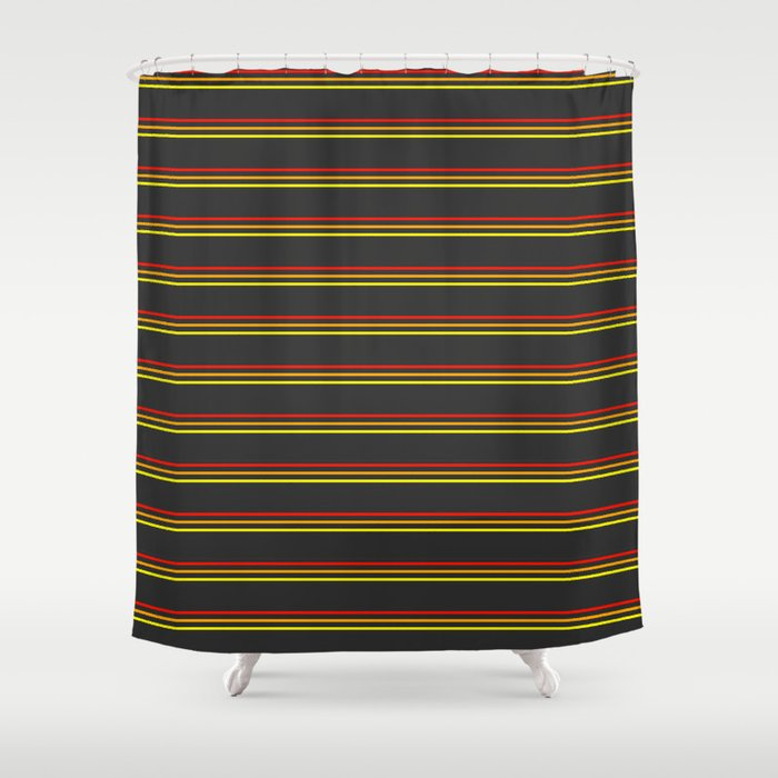 Phillip Gallant Media Design - Red, Orange, Yellow Lines on Black Shower Curtain