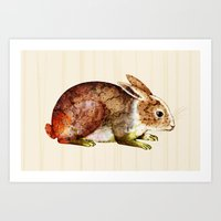 bunny Art Prints featuring Bunny by TatiAbaurreDesigns