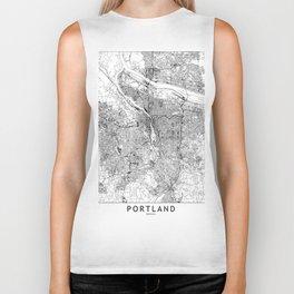 Portland White Map Biker Tank