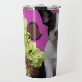 Black and White French Bulldog Puppy Sitting next to a Spring Bouquet of Flowers Travel Mug