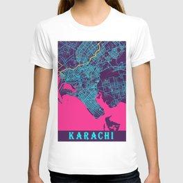 Karachi Neon City Map, Karachi Minimalist City Map Art Print T-shirt