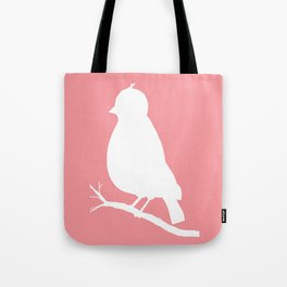 White bird on Coral Pink Background Tote Bag