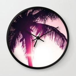 pink palm tree silhouettes kihei tropical nights Wall Clock
