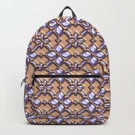 Blue glass pattern in brown background. Backpack