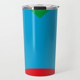 Blue dog, strange red nose, green Background. OR Blue Face, Green hair, big Red Mouth. You Choose. Travel Mug