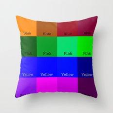 Blue, Pink, Yellow, Green  Throw Pillow