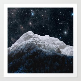 Mountains Attracts Galaxy Art Print