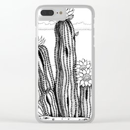 Cactus with flowers in ink Clear iPhone Case
