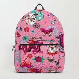 Lucky Cat Maneki Neko , Dragons and Koi fish On Pink Backpack