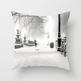 Snow - New York City - Bryant Park Throw Pillow