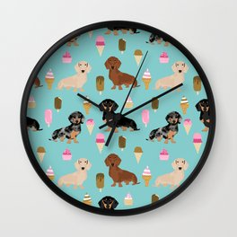 dachshund ice cream multi coat doxie dog breed cute pattern gifts Wall Clock