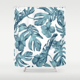 Teal Blue Tropical Palm Leaves Flowers Shower Curtain