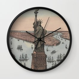 Vintage NYC & Statue of Liberty Illustration (1885) Wall Clock