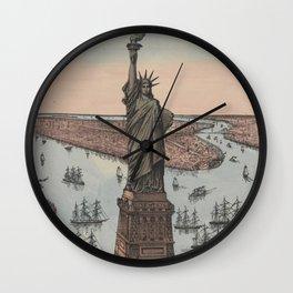 Vintage NYC & Statue of Liberty Illustration (1885) Wall Clock