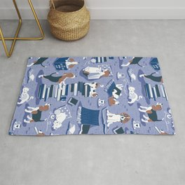 Life is better with books a hot drink and a friend // indigo blue background brown white and blue beagles and cats and classic blue cozy details Rug