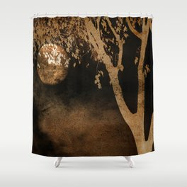 Golden Moon and Tree Shower Curtain