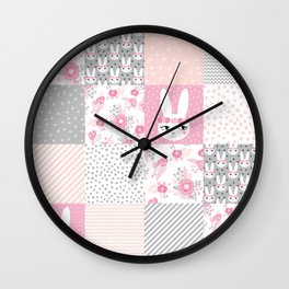 Bunny quilt baby decor newborn nursery charlotte winter pink grey decor for little girl Wall Clock