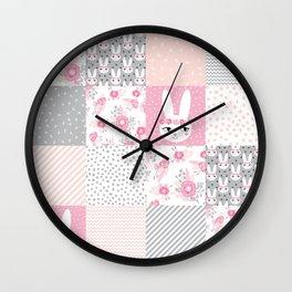 Bunny quilt baby decor newborn nursery charlotte winter pink grey decor for little girl Wall Clock