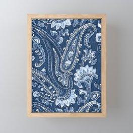 Blue indigo paisley Framed Mini Art Print