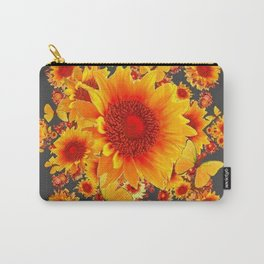 BLACK-GREY RED SUNFLOWERS PATTERS Carry-All Pouch