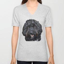 Black Cockapoo / Doodle Dog Portrait  Unisex V-Neck
