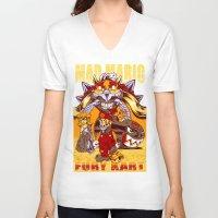 mario kart V-neck T-shirts featuring Mad Mario: Fury Kart by RynoArts