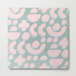 Memphis Pattern - Gemetrical  Retro Art in Pink and Mint -  Mix & Match With Simplicity Of Life Metal Print