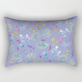 Bright Blossoms on Periwinkle Rectangular Pillow