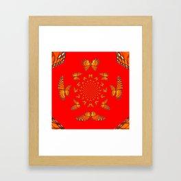 CHINESE RED MONARCH BUTTERFLIES MATING DANCE Framed Art Print