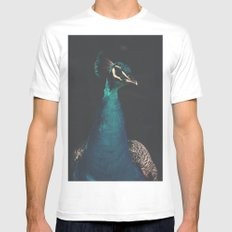 peacock and proud MEDIUM Mens Fitted Tee White