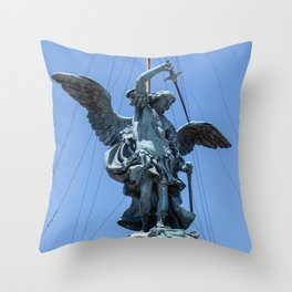 St Michael statue on top of Castel Sant'Angelo in Rome Throw Pillow