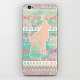 Whimsical Cat, Pink Turquoise Girly Aztec Pattern iPhone Skin