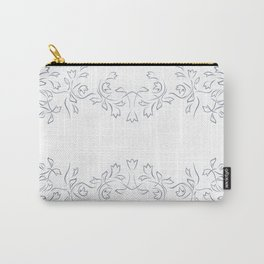 Grayish Blue White Floral Border Carry-All Pouch