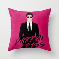 darren criss Throw Pillows featuring Pink Darren Criss by byebyesally