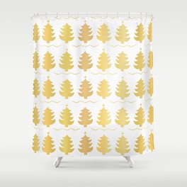 Luxe Gold Christmas Trees Pattern, Seamless Vector Background, Drawn Shower Curtain
