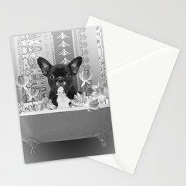 French Bulldog Bathtub lotos Flower Blossoms Stationery Cards