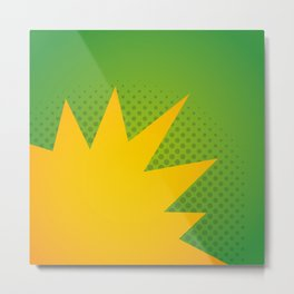 Minimal Pop Bang on Green Metal Print