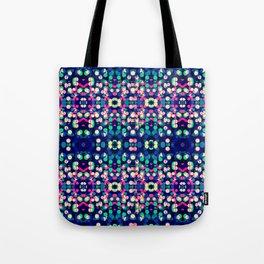 Vibrant Blue Bokeh Kaleidescope Pattern Tote Bag