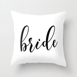Black and White Bride Typography Script Wedding Design Throw Pillow