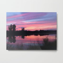 Pink Sunset Mirror Lake Metal Print