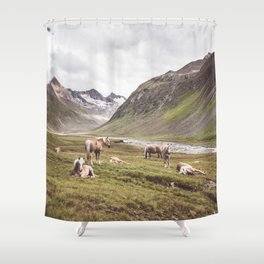 Tyrolean Haflinger horses I Shower Curtain