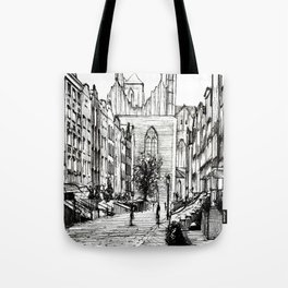GOTHIC STREET OF POLISH CITY GDANSK IN GREY TONES Tote Bag