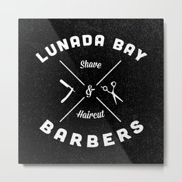 Barber Shop : Lunada Bay Barbers B&W Metal Print