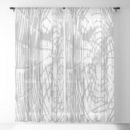 Intricate Halloween Spider Web Grey Palette Sheer Curtain