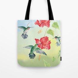 Colorful Hummingbirds and Hibiscus  Tote Bag